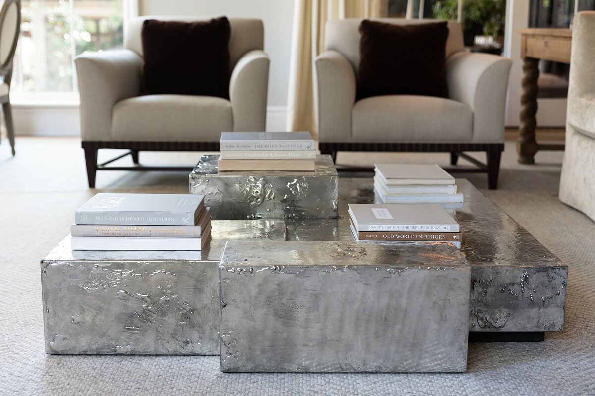 Unusual coffee table in family room designed by Amy Morris for O'More Designer Show House. 11 Interior Design Ideas: Nashville Show House.