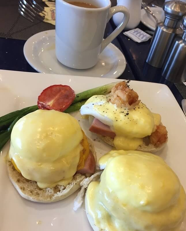 Eggs Benedict—in its multiple variations—is a specialty at the Hilton's restaurant, H20.