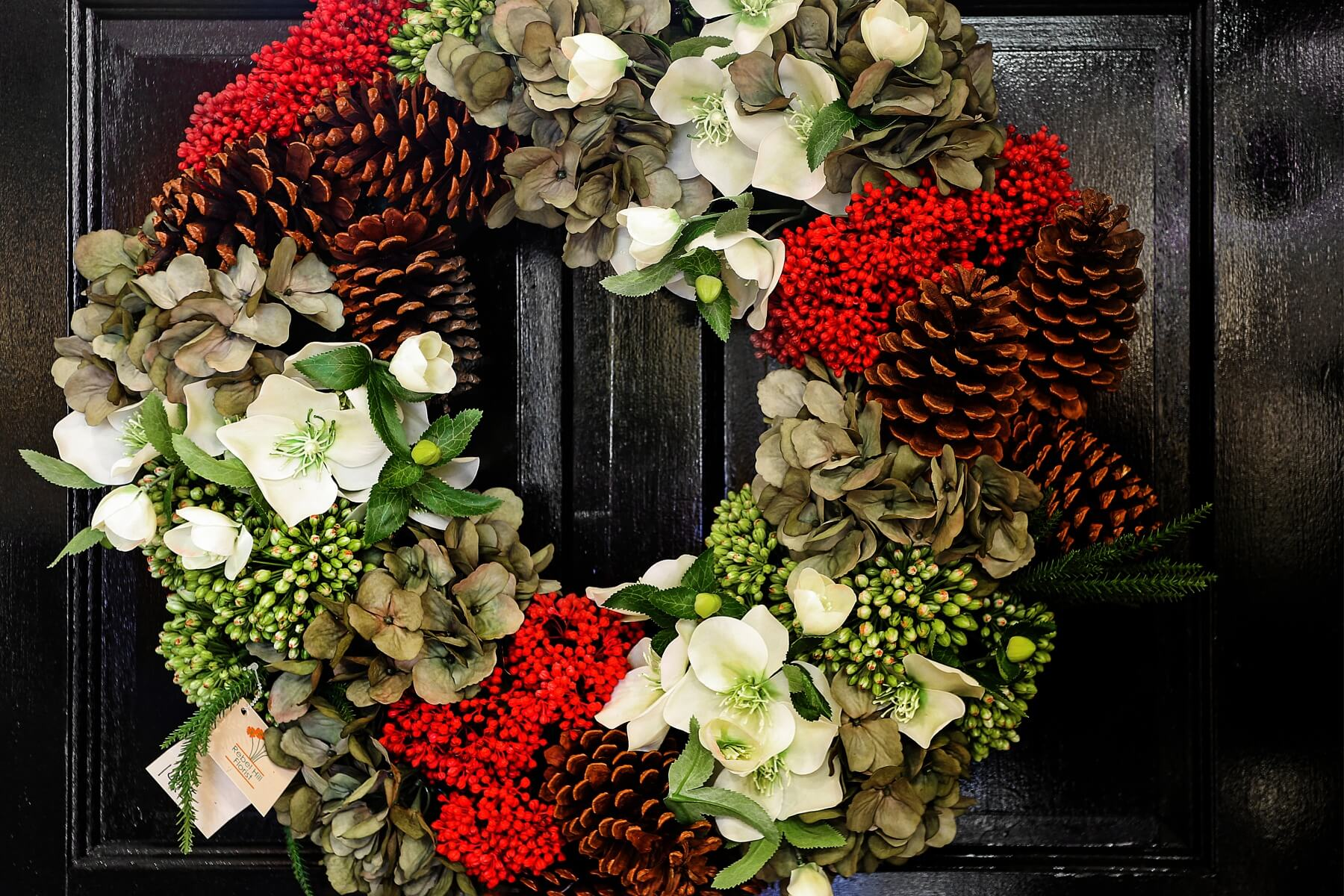 Winter hydrangea and hellebores wreath, $149.95