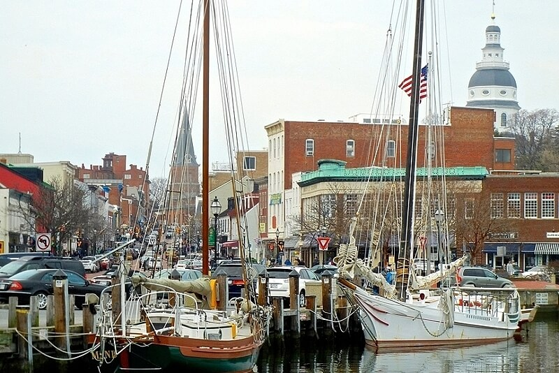 Known as America's Sailing Capital, quaint Annapolis, Maryland is a treat for boat-lovers. This dock leads to the bustling Main Street. Image: Visitannapolis.org/Kenneth Tom Photography