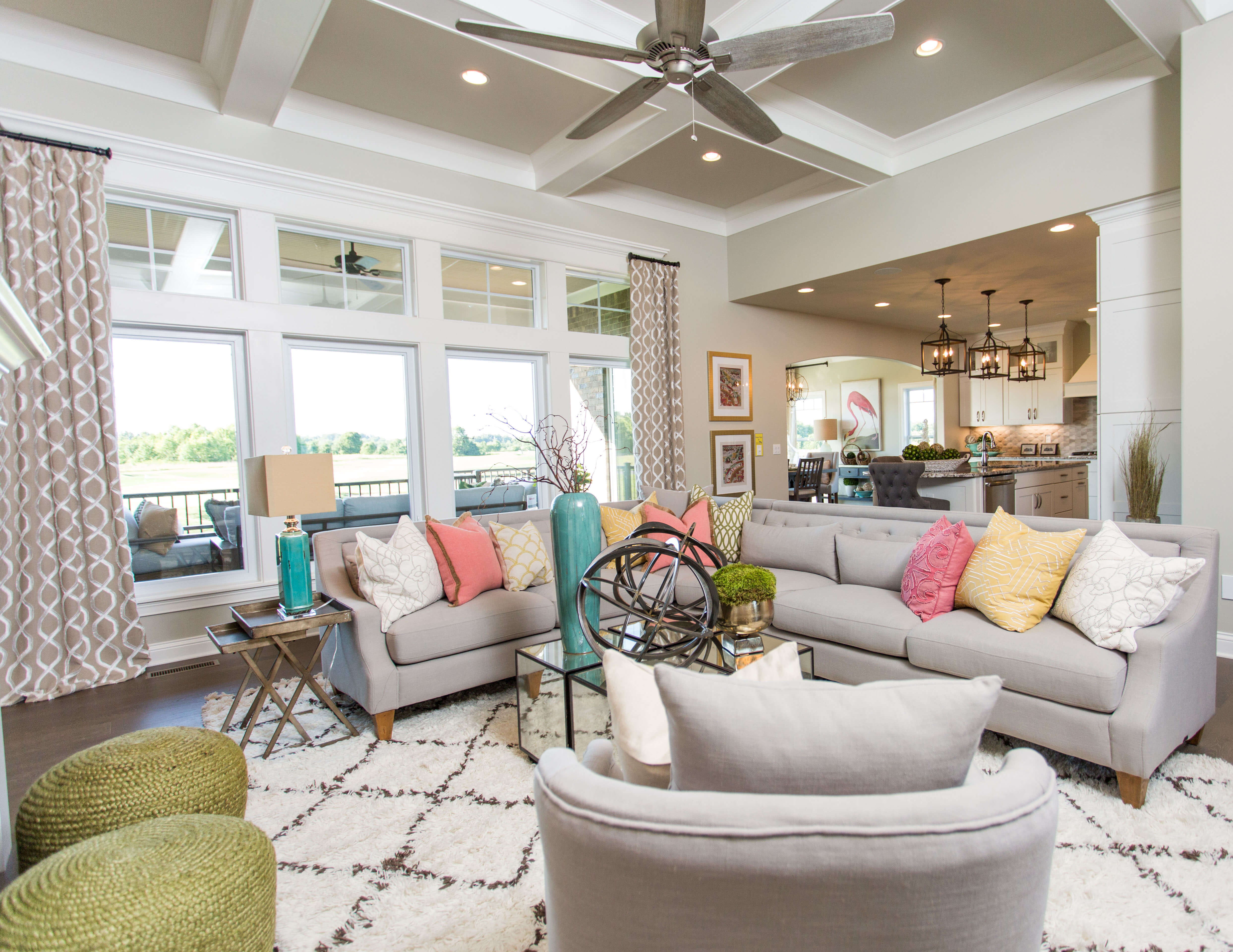 The patterns this living room, from LL&A Interior Design's award-winning Home Expo House, work together perfectly. Image: LL&A Interior Design