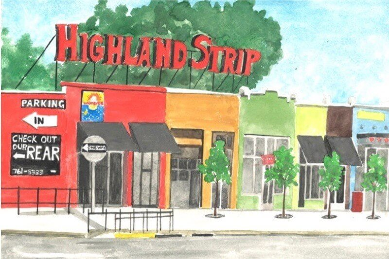 This vibrant watercolor by Carolyn Pollan of RoyalBeeArtCompany paints a picture of the Highland Strip during a sunnier, greener season! Image: Carolyn Pollan of RoyalBeeArtCompany
