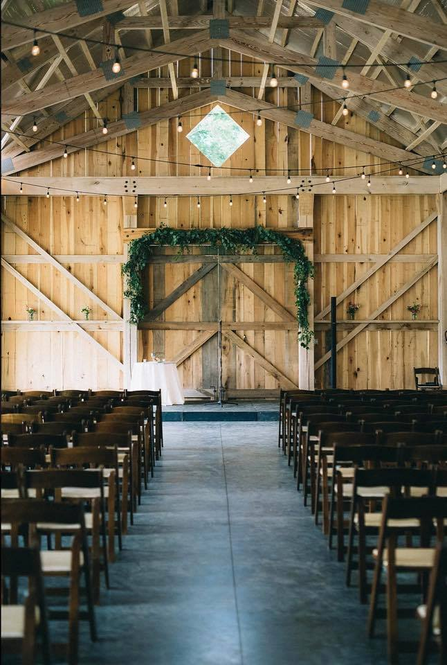 The event barn makes for a stunning wedding backdrop.