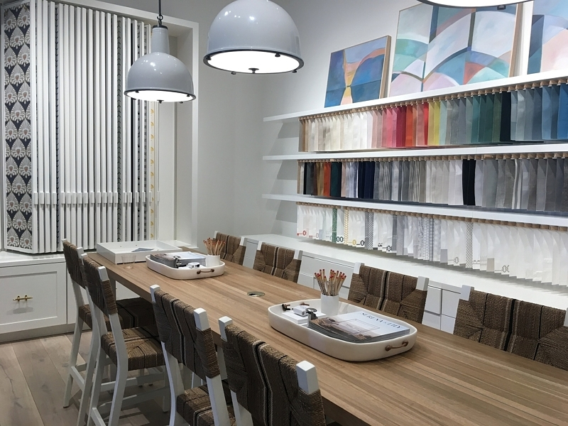 The store's design space gives you loads of inspiration and a long table at which to work.