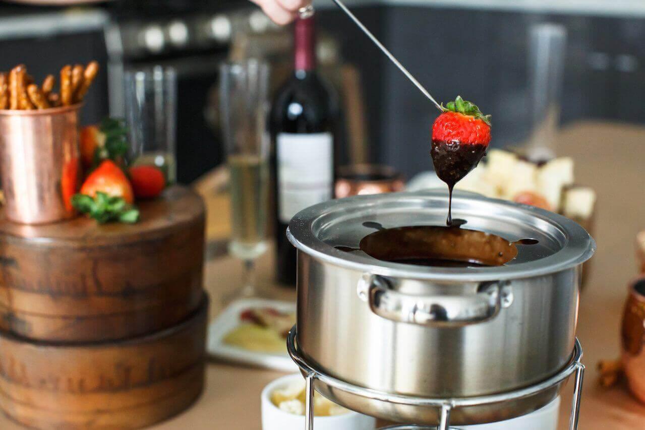 fondue — strawberry in chocolate
