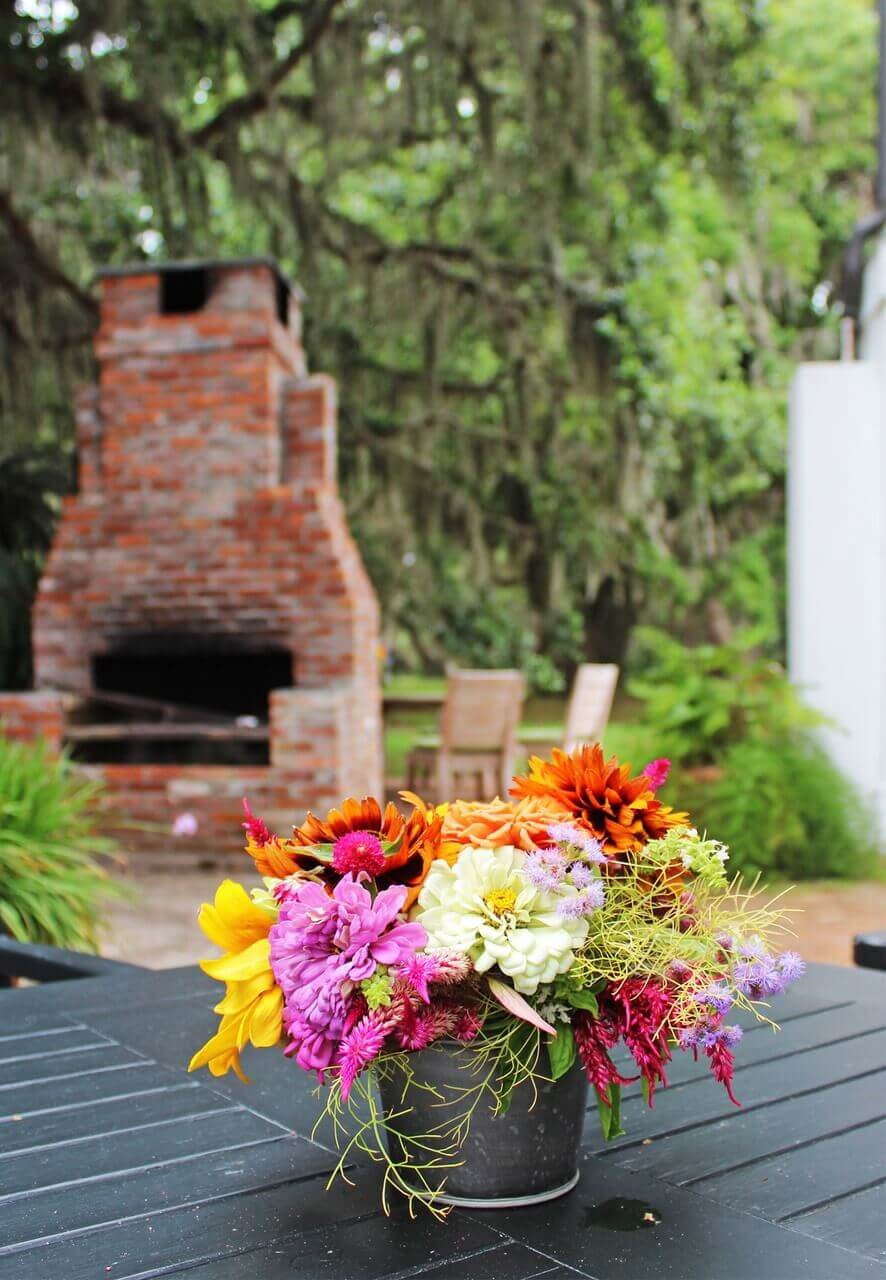 Flowers are switched out often in the summer, since the resort's gardens feature all sorts of homegrown flora.
