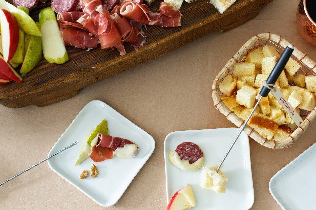 Fondue food on plates