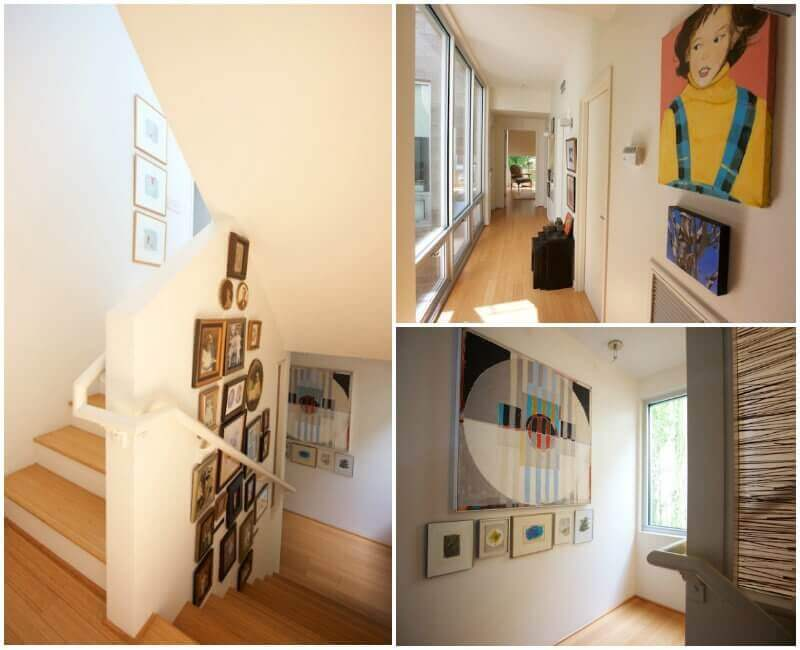 Art is one of the home's main decorative components, as well as family pictures. This stairway wall (left) features generations of Ben's and Ellen's family lineage.