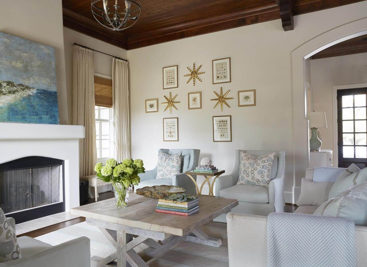 """I loved making it soft and fresh for the beach,"" says Libby of this beach house, which underwent a total makeover. This living room was once all red, gold and chocolate."