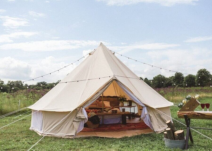 Canvas glamping tent