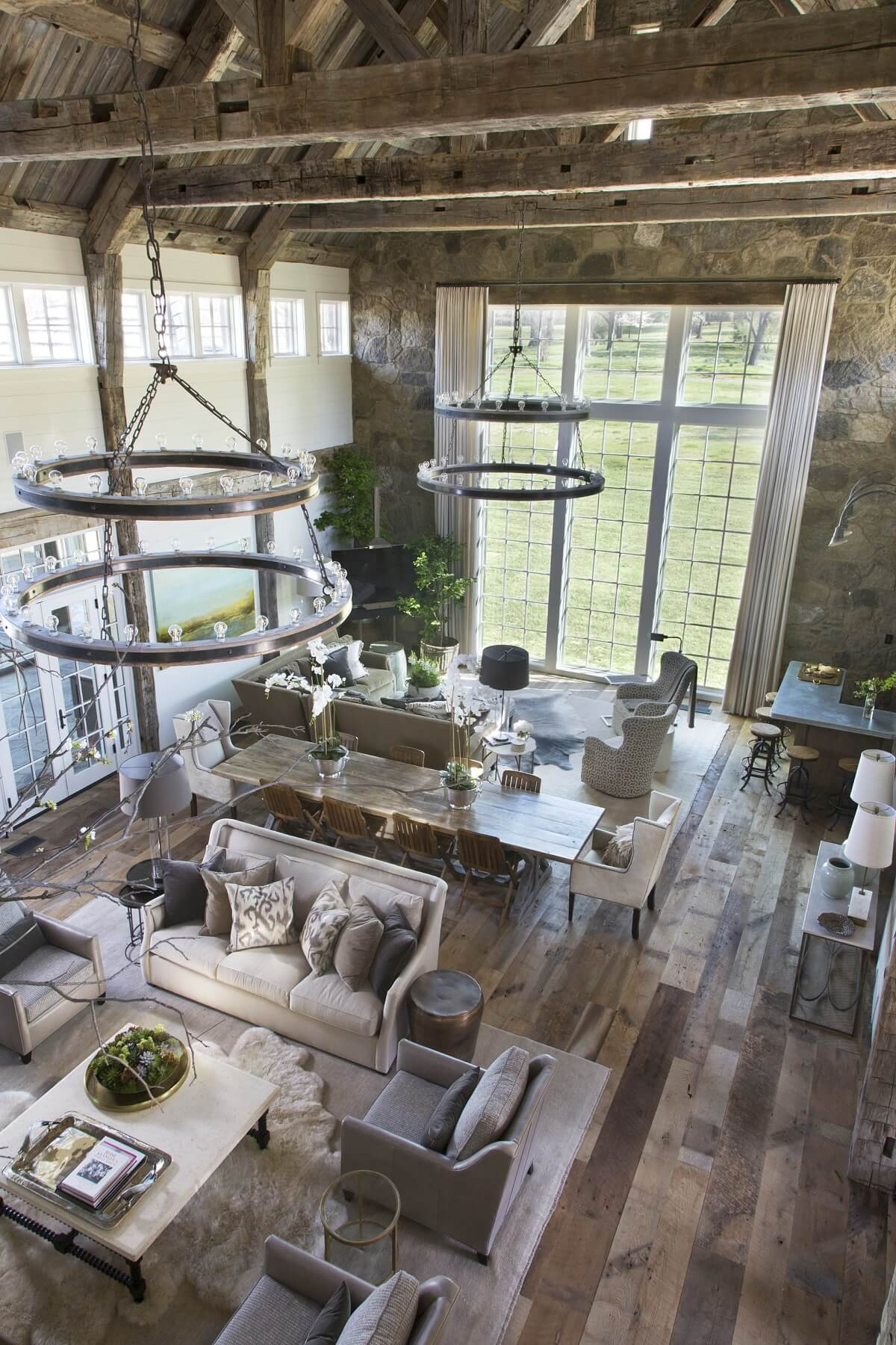 From above, it is interesting to see the flowing layout of this open floor plan.