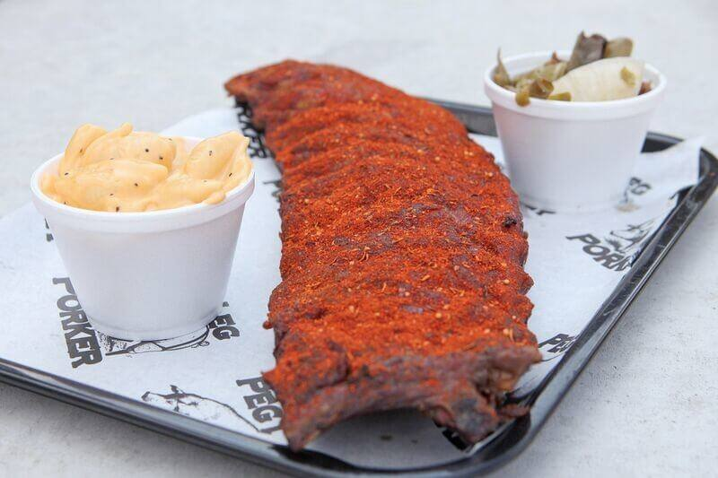Restaurants in The Gulch include Peg Leg Porker. Ribs and mac and cheese