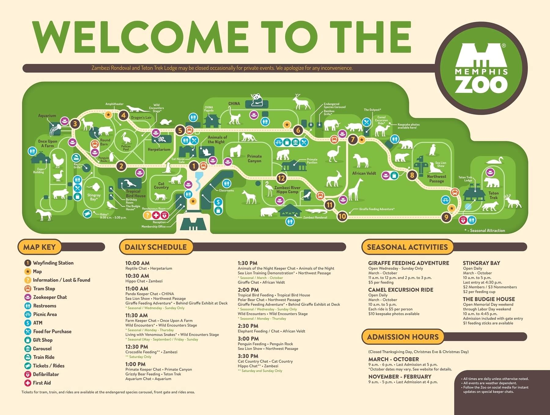 Be sure to grab a map for easy navigation of the expansive zoo property.