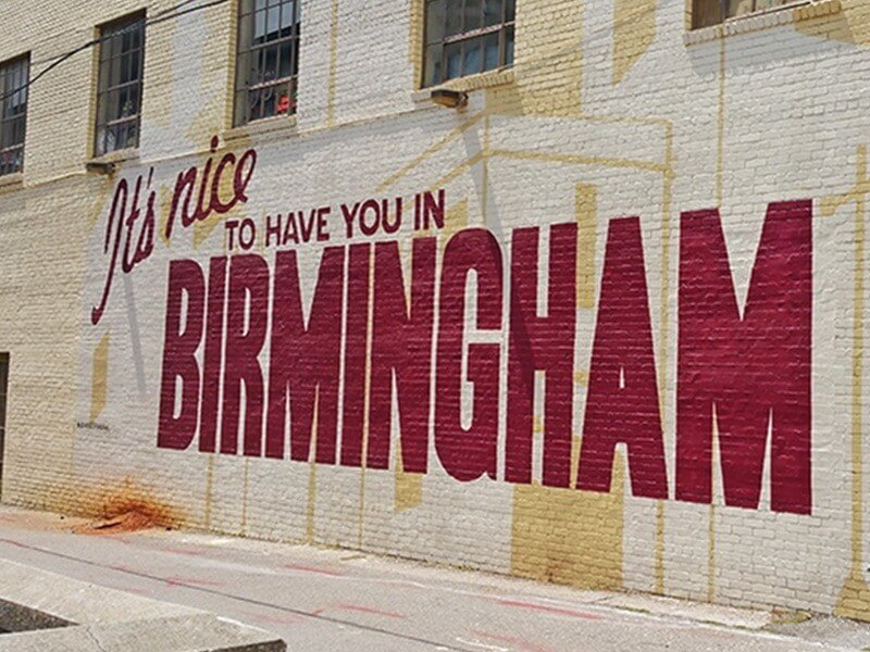 Possibly the most recognizable mural in the Magic City, the 'It's Nice to Have You in Birmingham' mural outside John's City Diner is a must for an Instagram photo shoot.