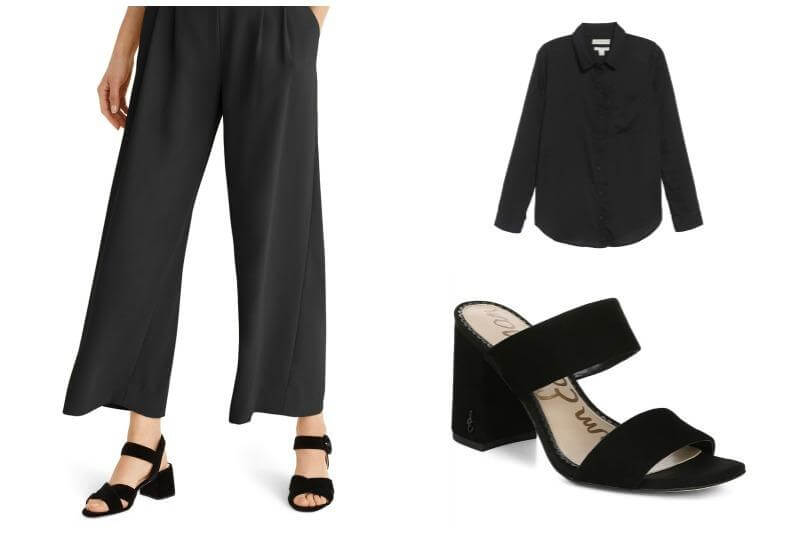 199d160225 Go for a monochromatic look with wide-leg pants this season. Here we chose  black as it is universally liked and flattering for all body types.