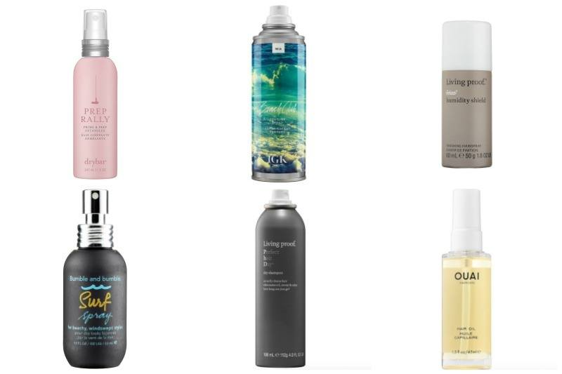 These hair care products will make summer styling a breeze. The Drybar Prep Rally spray is $23, the IGK Beach Club Texturizing spray is $29, the Living Proof Humidity Shield is $23, the Bumble and bumble surf spray is $27, the Living Proof dry shampoo is $23 and the OUAI hair oil is $28. Images: Sephora