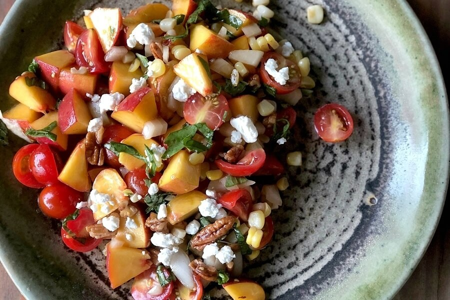 Peach, Tomato, Corn Salad