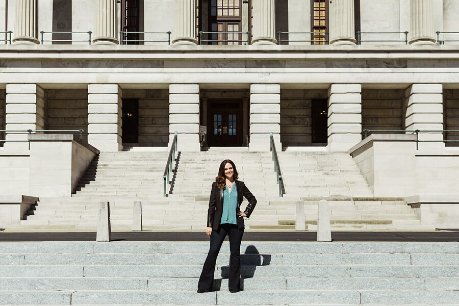 Standing on the capitol steps, Sarah reminds us of our strength and power.