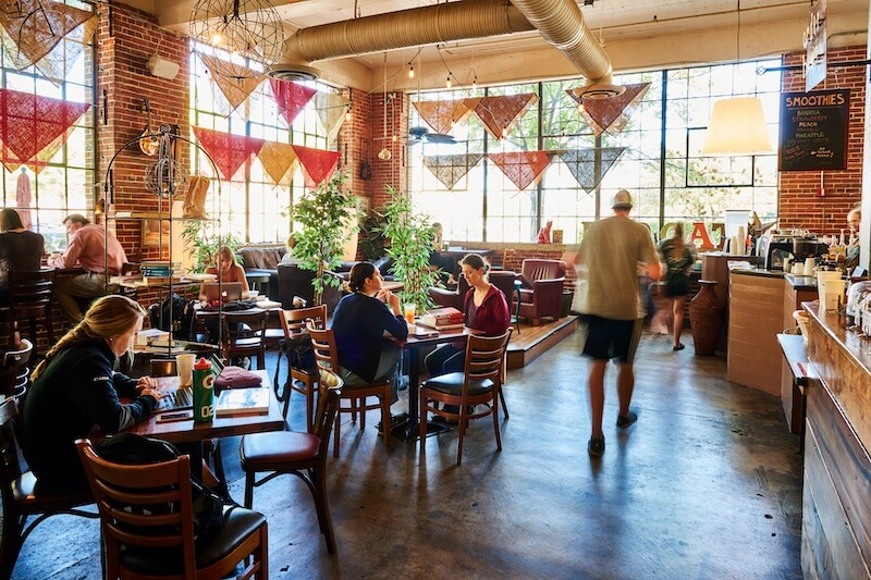 Red Cat Coffee House is a bustling hub of activity.