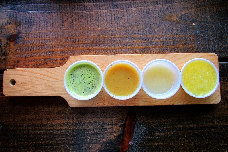 Quartet of juice at The Juice Bar in The Gulch
