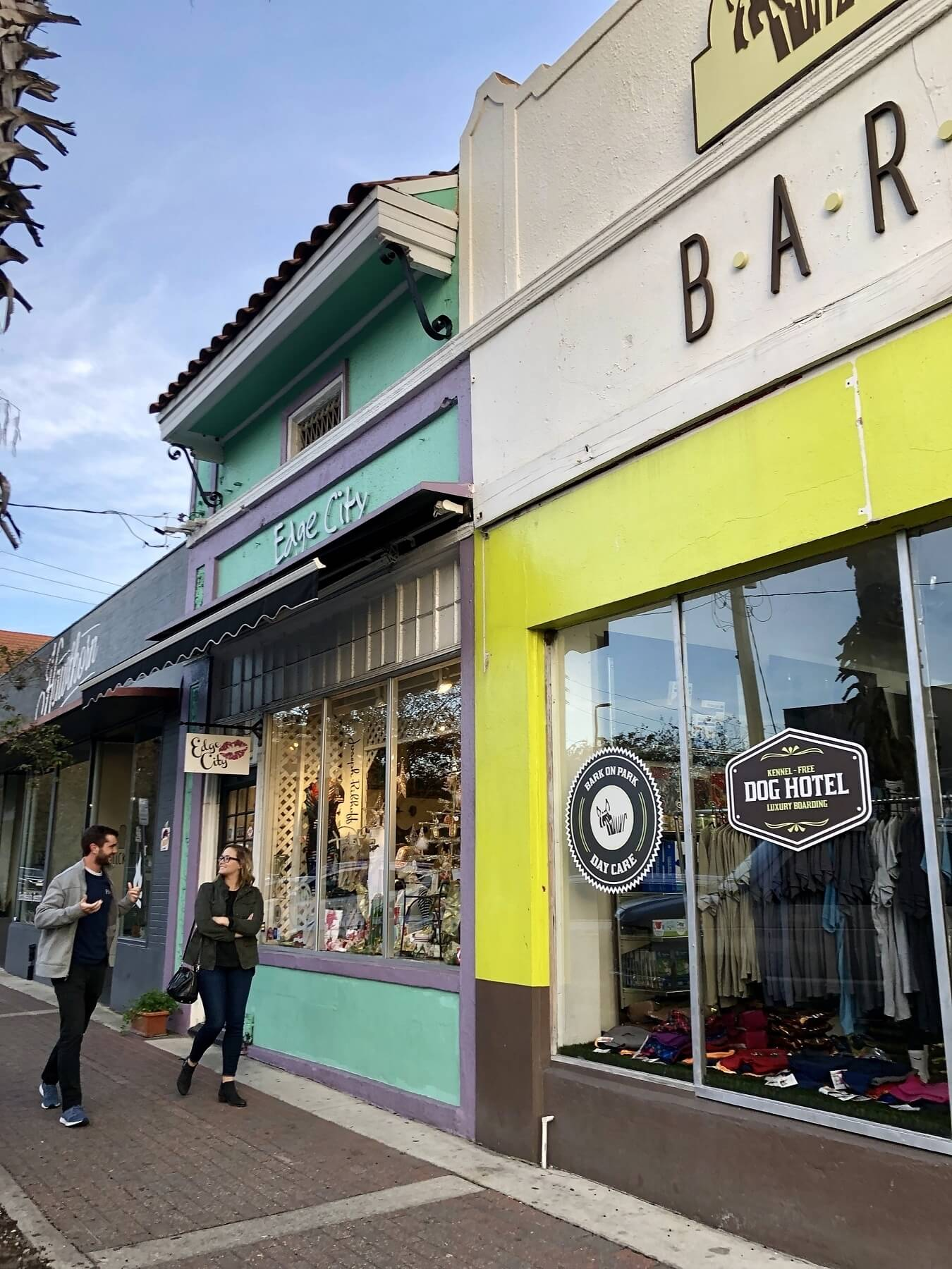 """Jacksonville, Florida — Popular stops in Five Points include the pooch-friendly <a href=""""http://www.thebarkboutique.com"""">Bark Boutique</a>and women's clothing store <a href=""""https://www.facebook.com/Edge-City-49303541023/"""">Edge City</a>."""