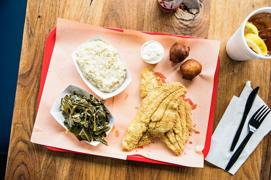 Fried catfish and homemade tartar sauce at Rodney's BBQ in Birmingham
