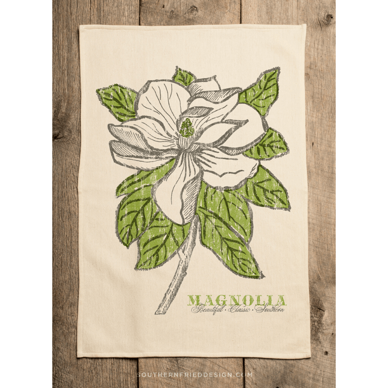 Magnolia kitchen towel, $18, at SB Shop