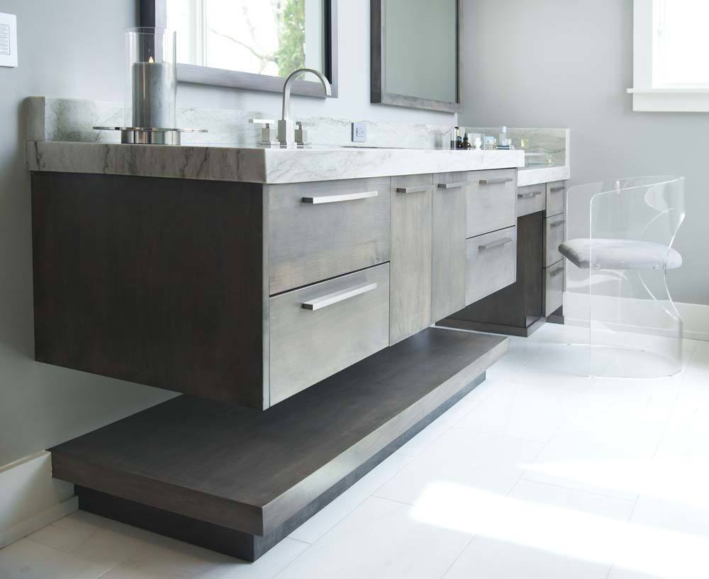 custom floating bathroom cabinetry