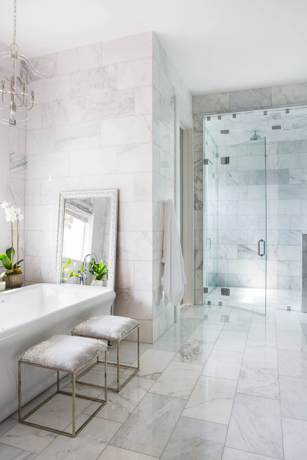 bathroom inspiration- floor to ceiling marble