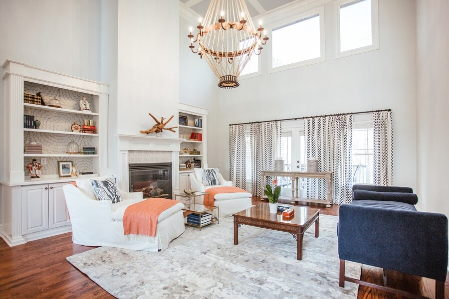 great room with large chandelier