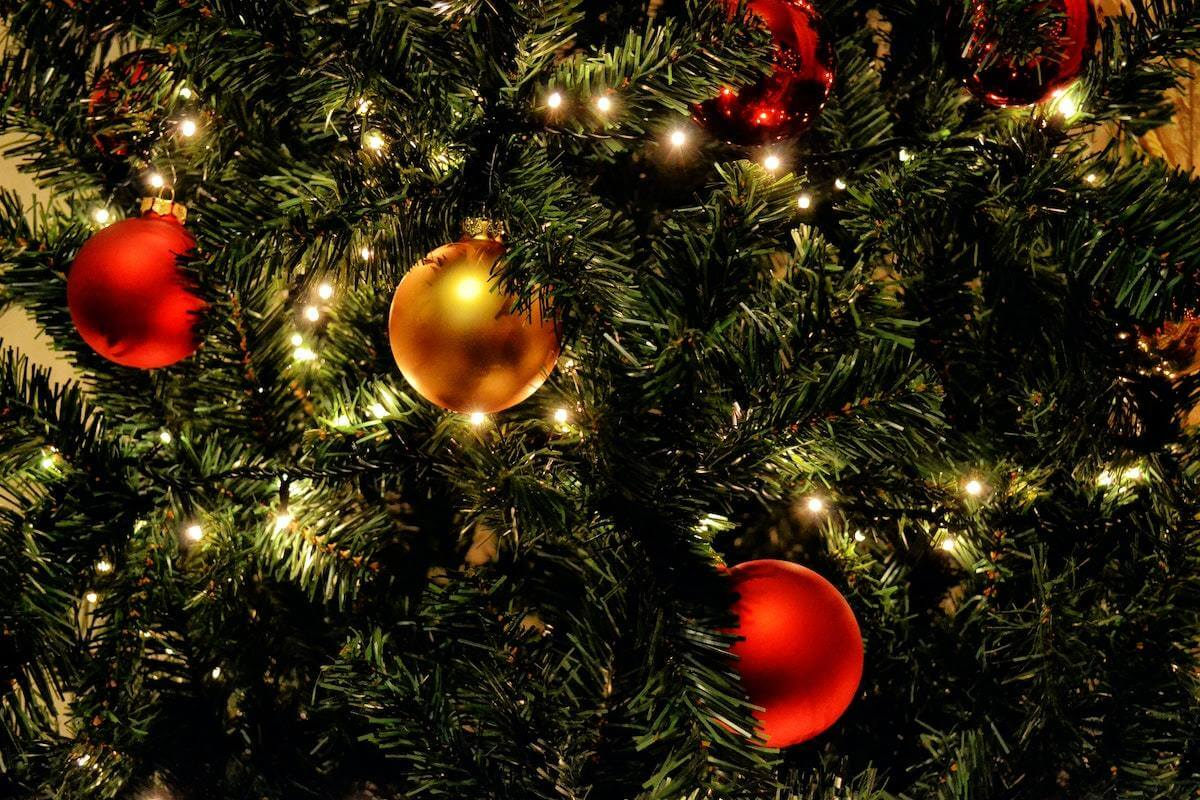 Close-up of Christmas tree with lights and ornaments