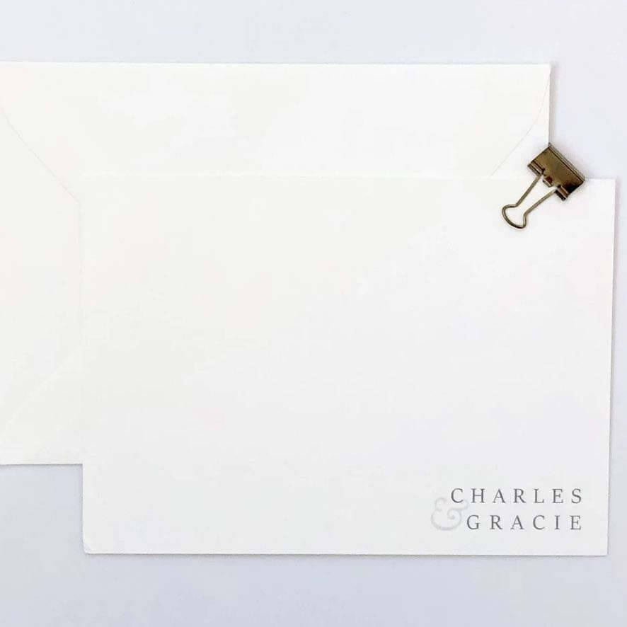 White stationery with two names, a Valentine's Day gift idea