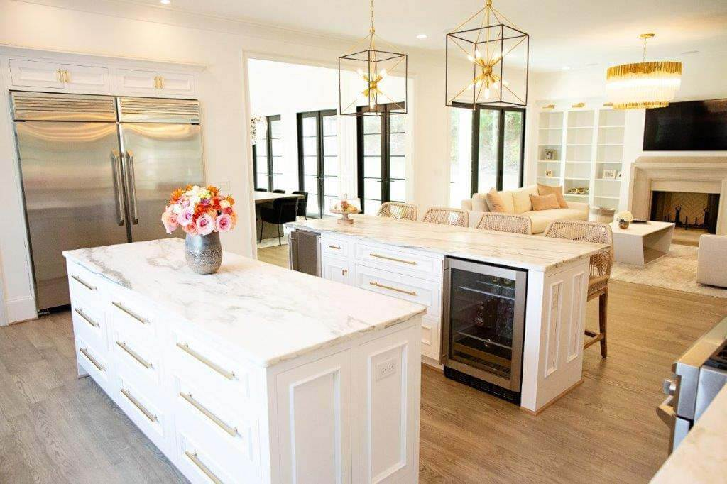Large kitchen with double island