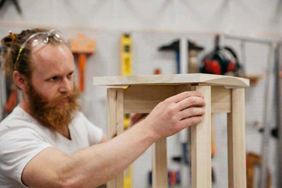 Man doing carpentry at Watkins College of Art adult education classes