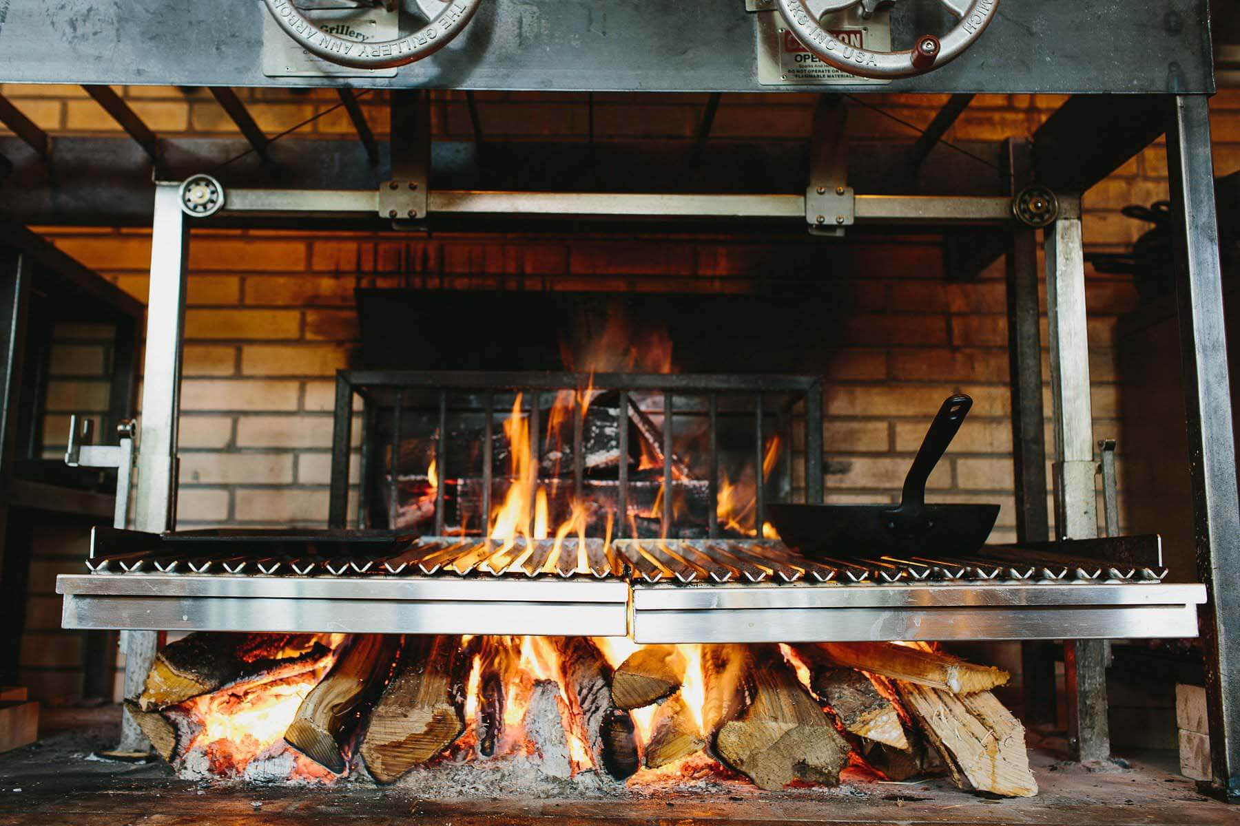 Open fire grill at King + Duke