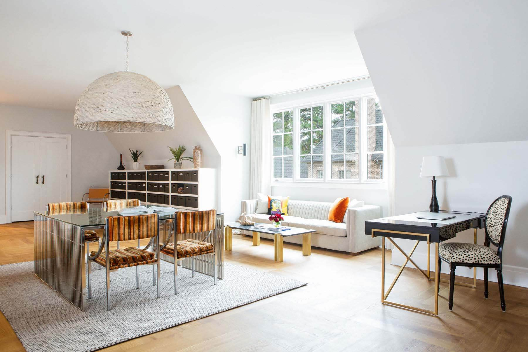 Living space with table, desk and couch