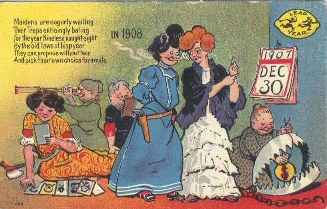1907 postcard about leap year