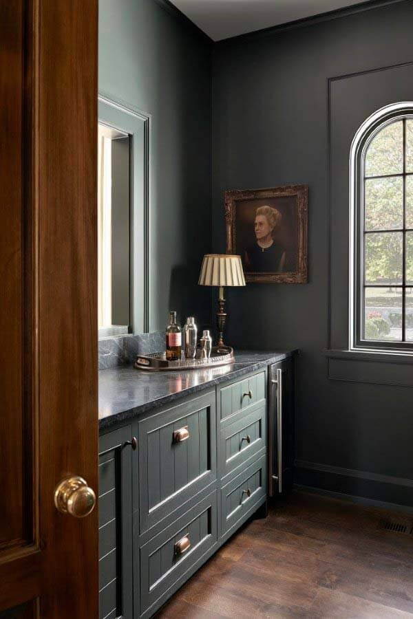 Butler's pantry with portrait of the homeowner's grandmother
