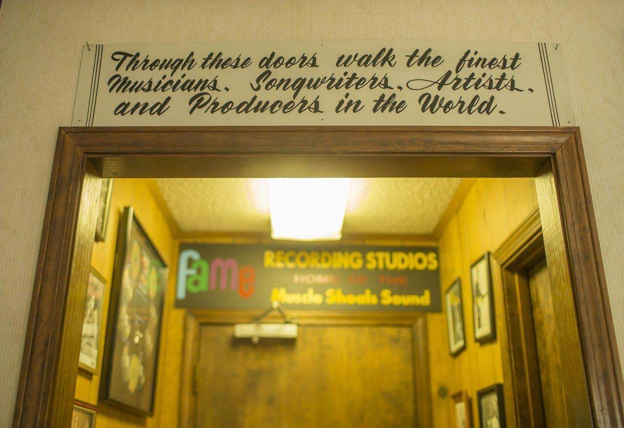 Quote above FAME recording studio door
