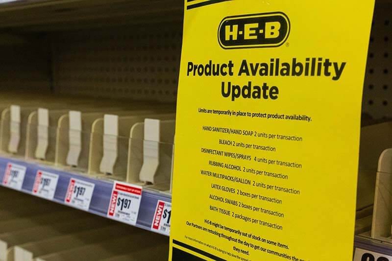 HEB in San Antonio Texas notice with limits to the products