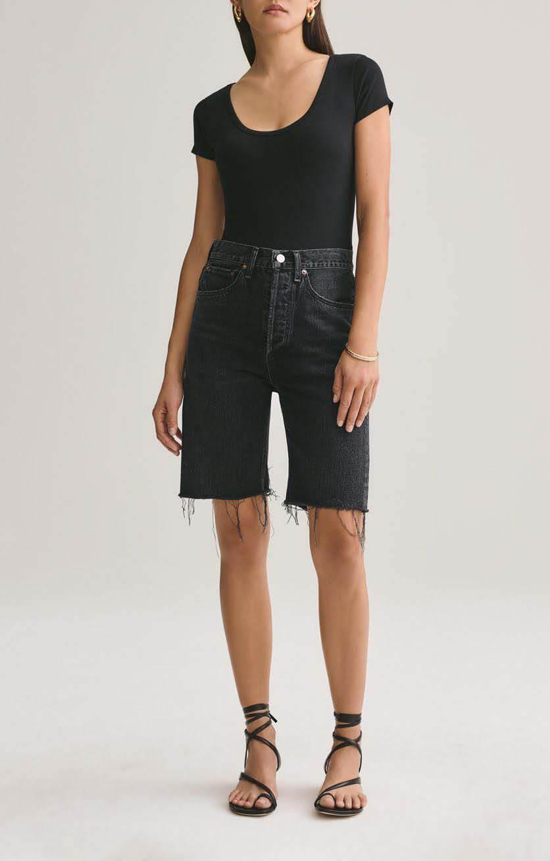 Black denim bermuda shorts from Agolde