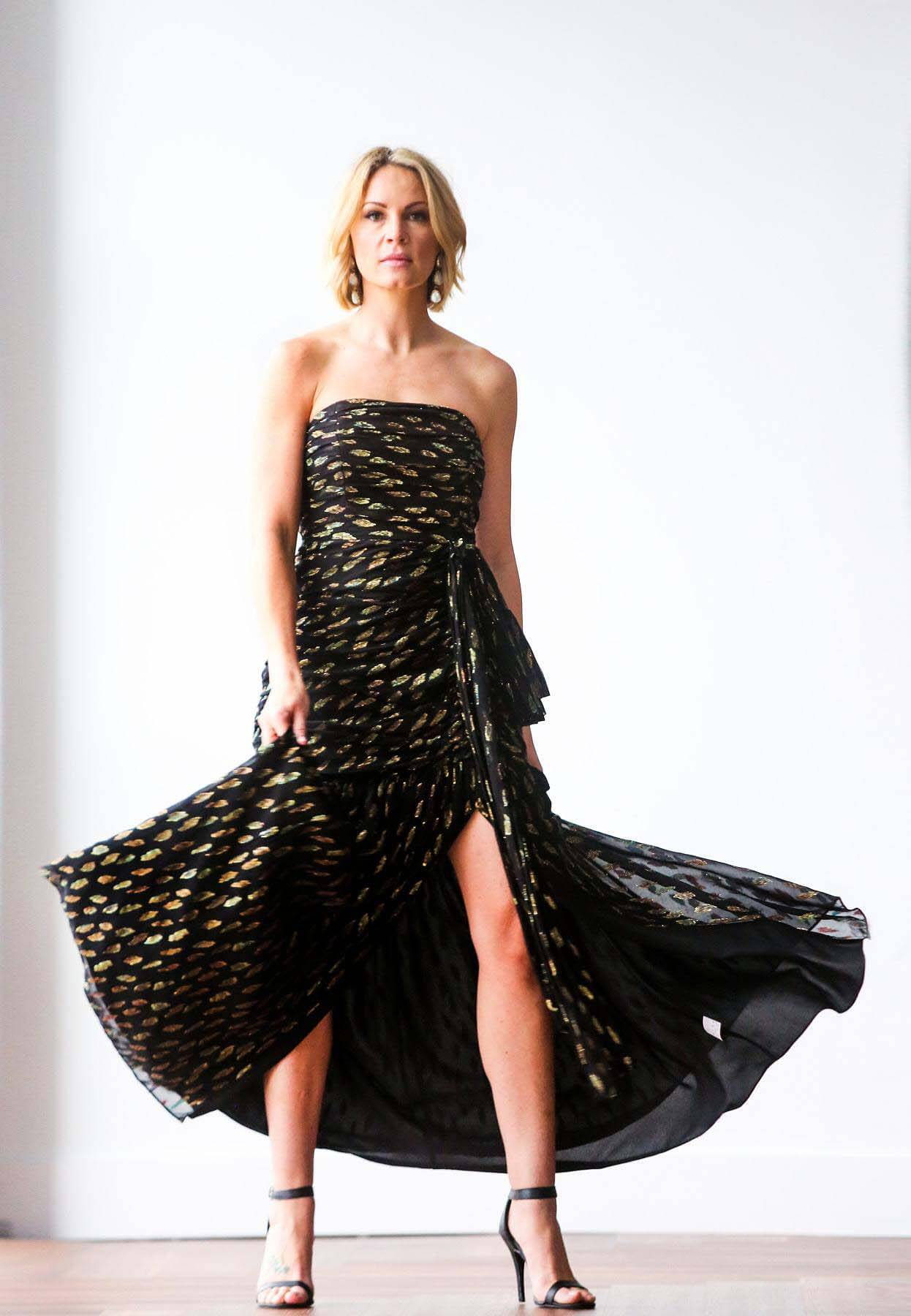 Strapless Gus Mayer evening gown on model, for Nashville Fashion Week 2020