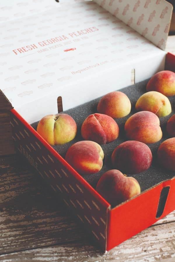 Box of Georgia peaches from The Peach Truck