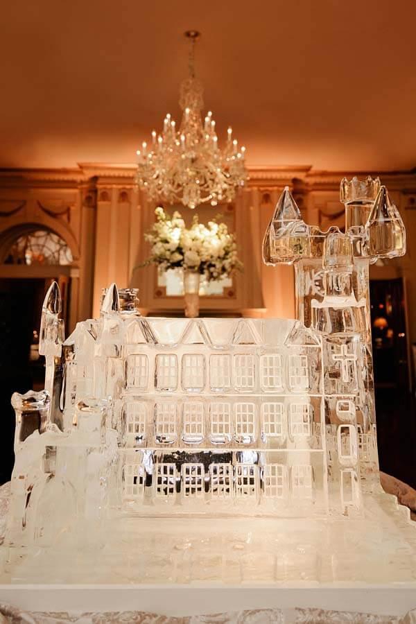 Ice sculpture Scottish castle for a winter wonderland wedding