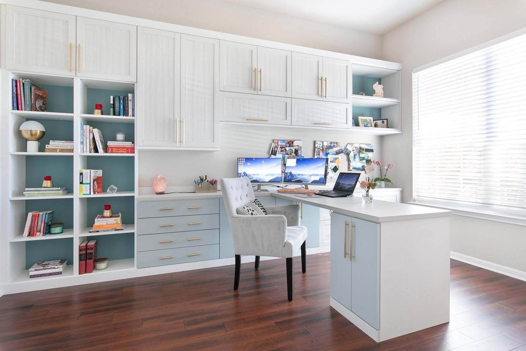 California Closets Home Office design example with white cabinets