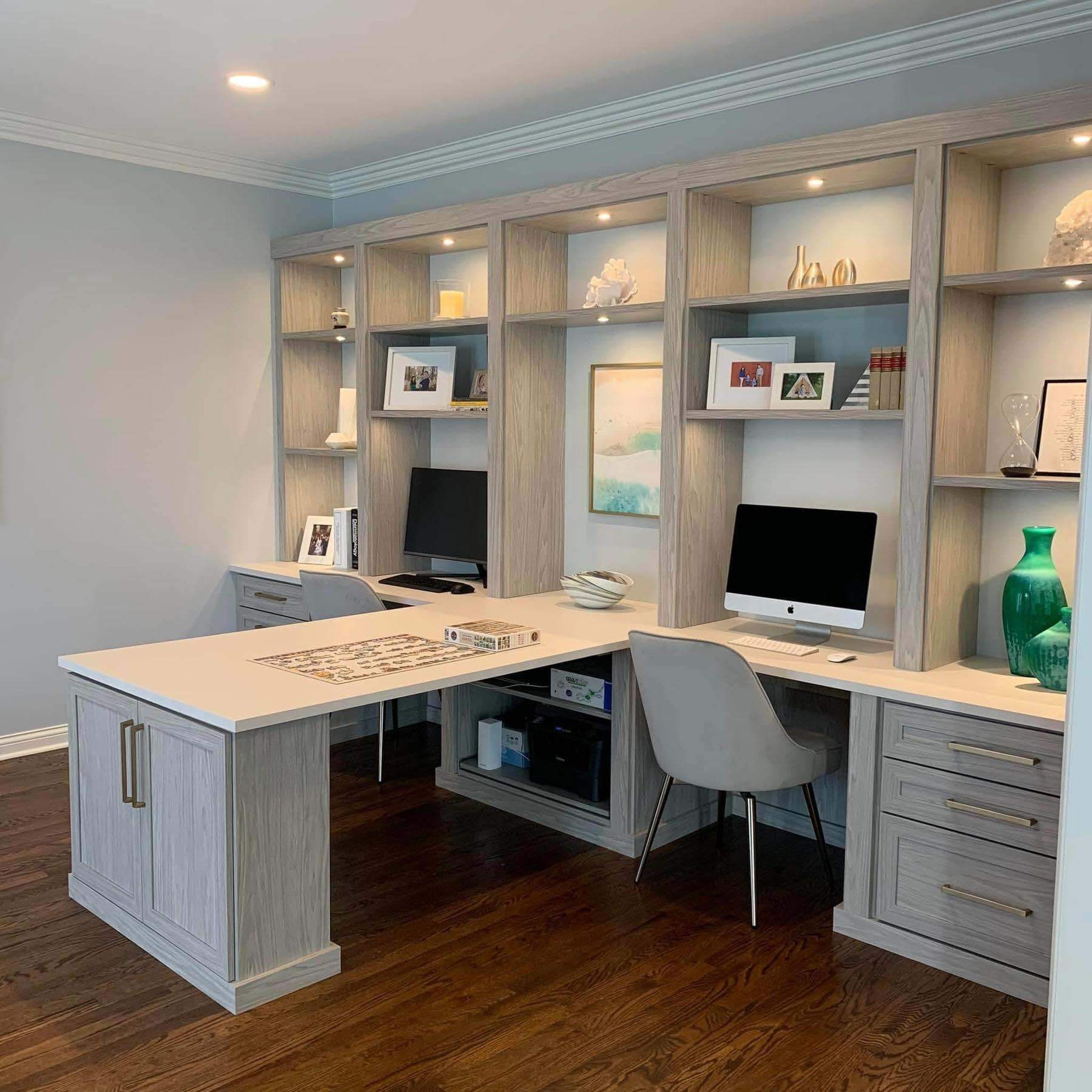 home office desk that features built-in lighting
