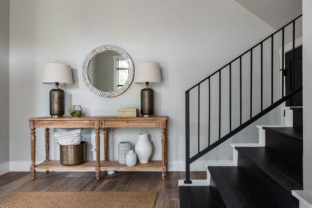 Entryway table with tall baskets