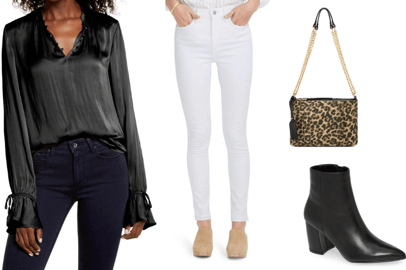 Black accessories with white jeans after Labor Day