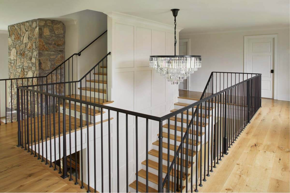 Staircase in renovated ranch home