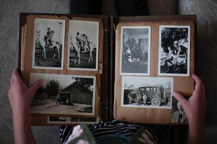 scrapbook with black-and-white photos